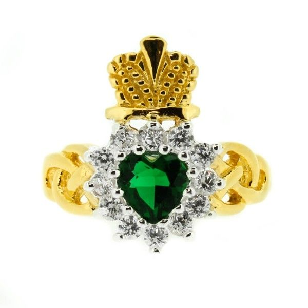 Gold Plated Claddagh Ring Emerald Colour Stone 9901